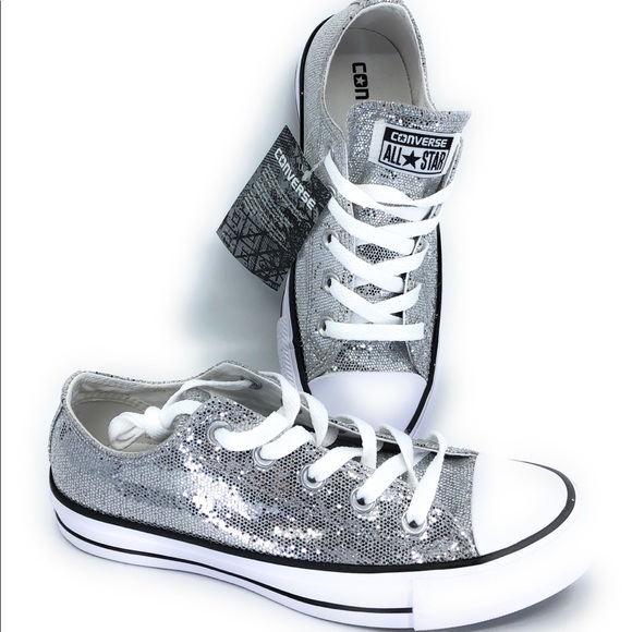 56826d70cd64 Converse Shoes - New Silver Sequin Converse Sneakers Size Women s 8